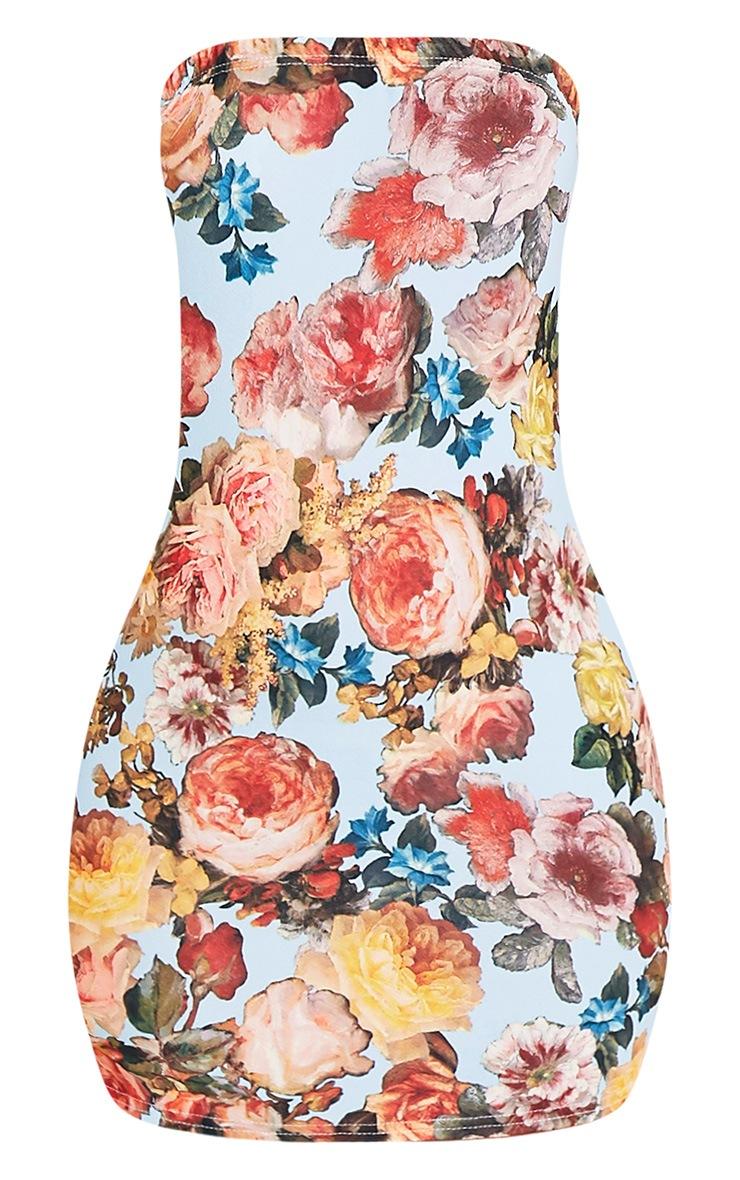 Dayana Blue Floral Print Bandeau Bodycon Dress 3