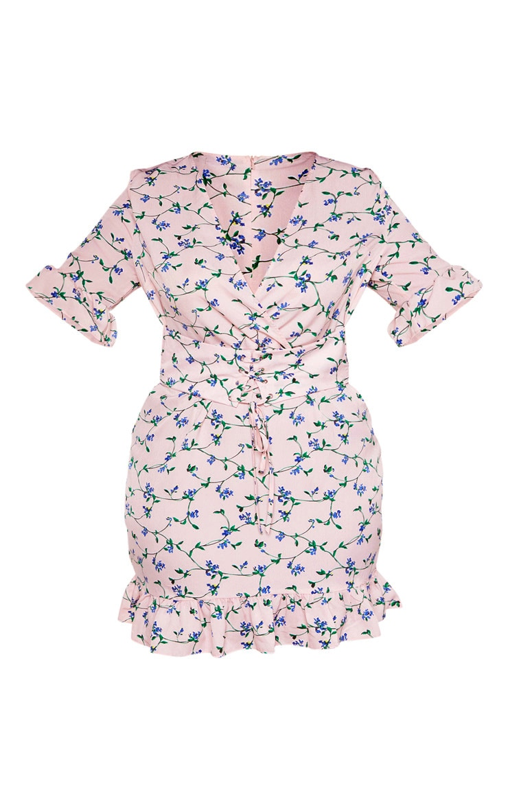 Plus Pink Floral Corset Swing Dress 3