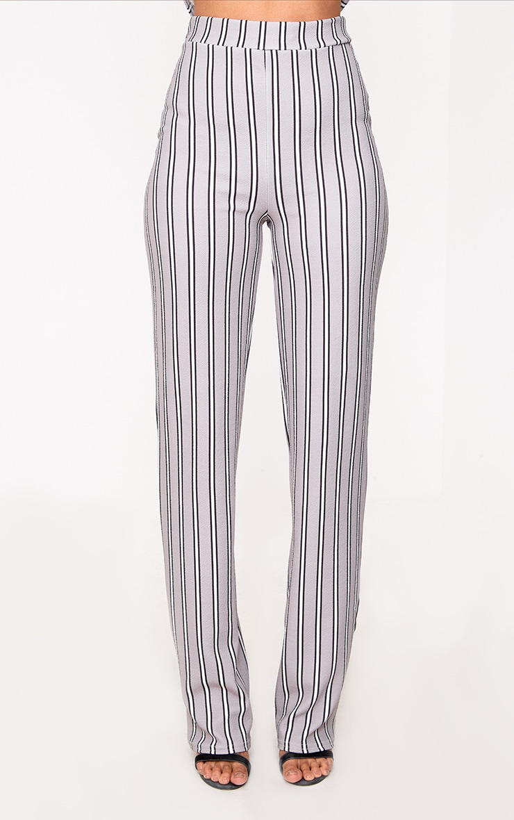 Grey Stripe Straight Leg Suit Trousers 2