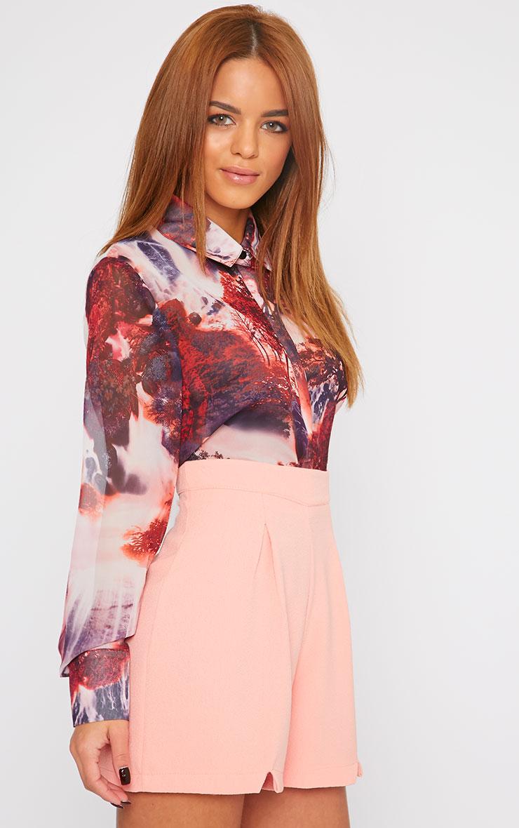 Suzy Pink Tree Print Sheer Shirt 1