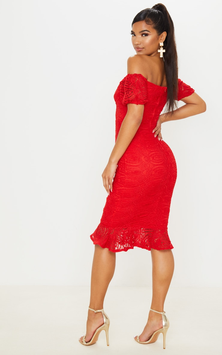 Red Cup Detail Lace Bardot Midi Dress 2