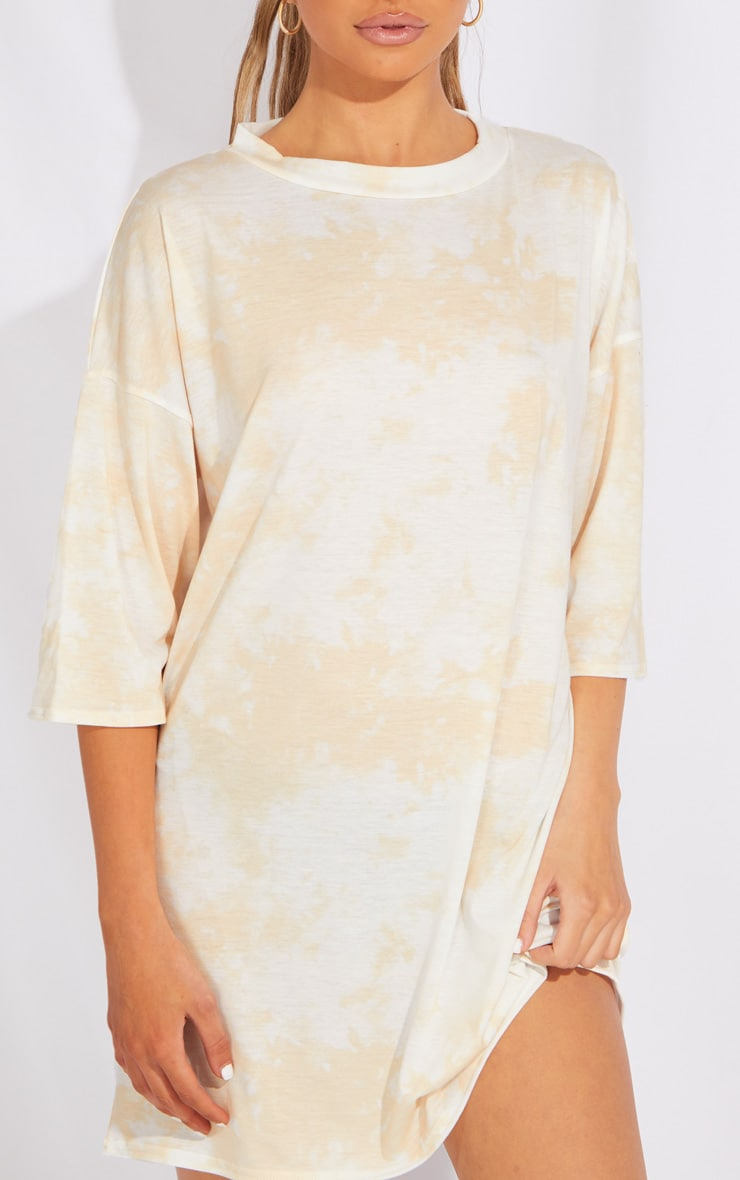 Petite Sand Tie Dye Oversized Boyfriend T Shirt Dress 4