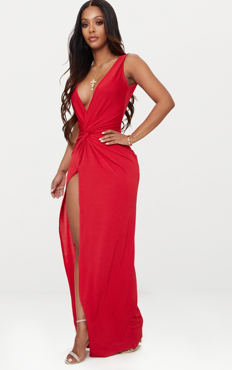 Shape Red Slinky Wrap Detail Maxi Dress 3