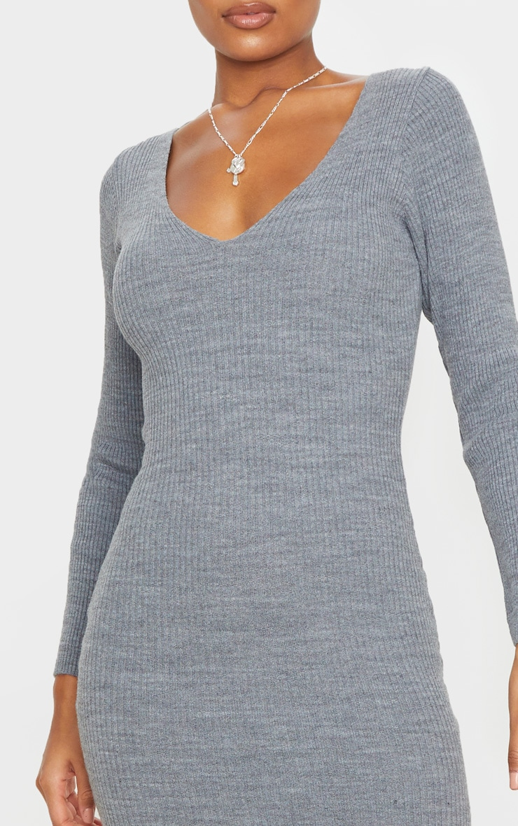 Grey V Neck Knitted Midi Dress 5