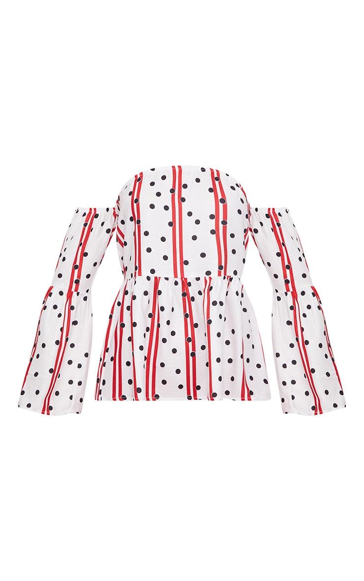 Red Cheesecloth Polka Dot Bardot Blouse  3