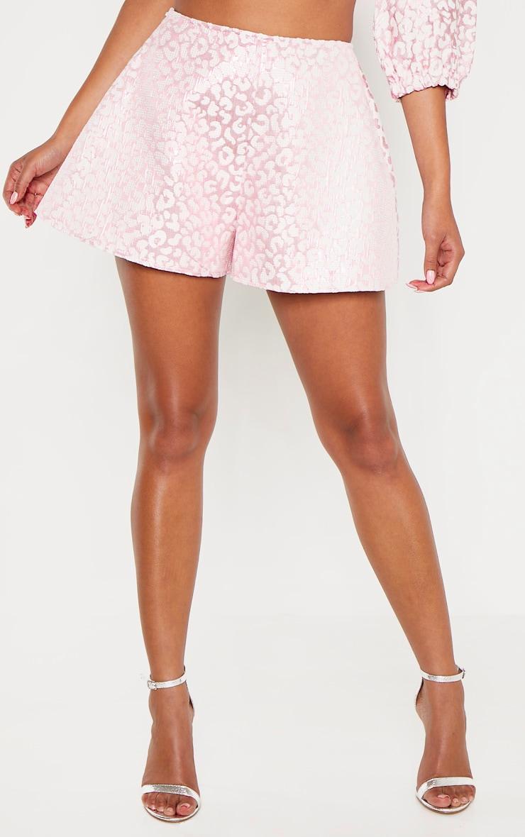 Pink Foil Print A Line Shorts 2