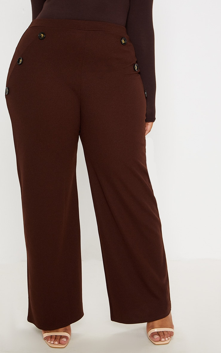 Plus Chocolate Brown Button Detail Wide Leg Trousers 2