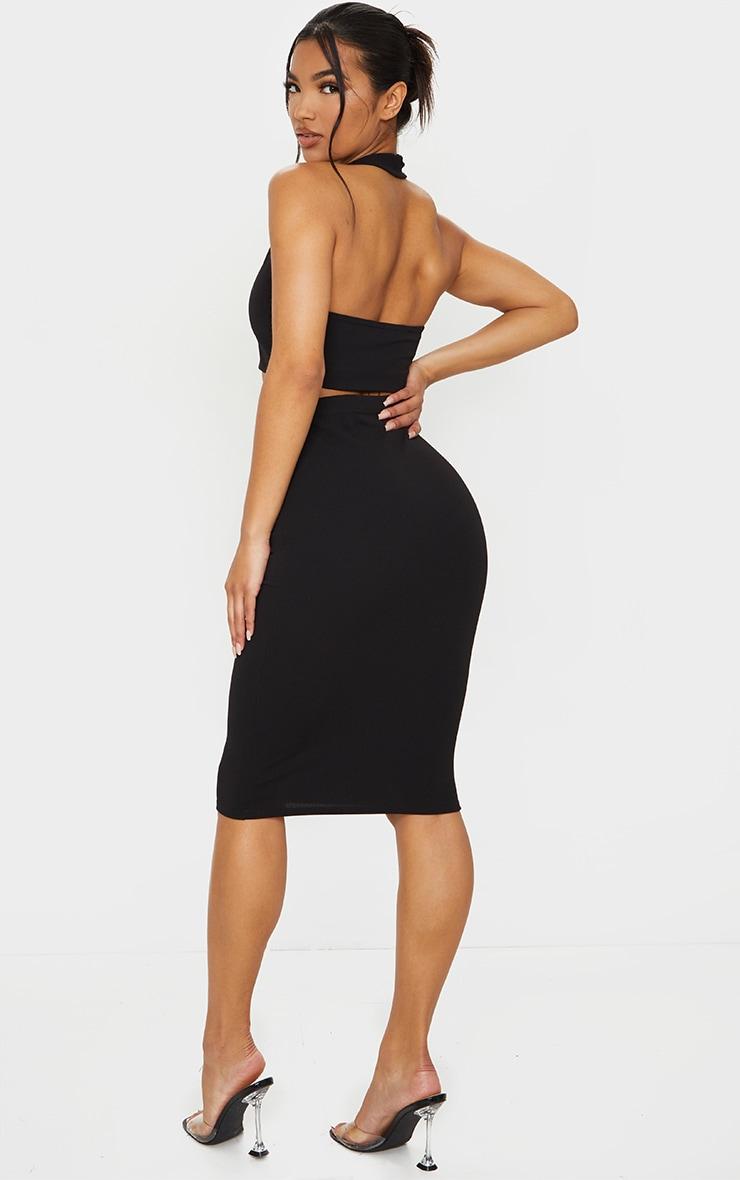 Black Halterneck Crop Top & Midi Skirt Set 2