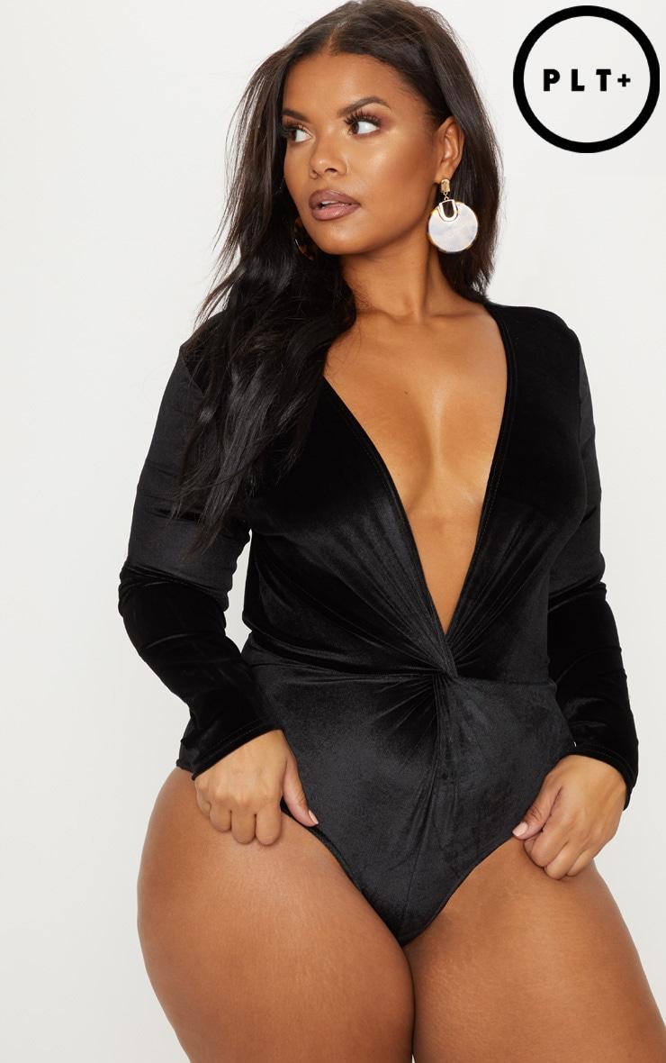 Plus Black Velvet Twist Front Bodysuit by Prettylittlething