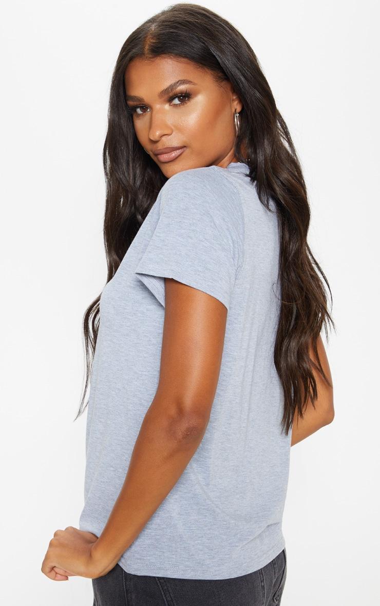 Basic Grey Marl Jersey V Plunge T Shirt 2
