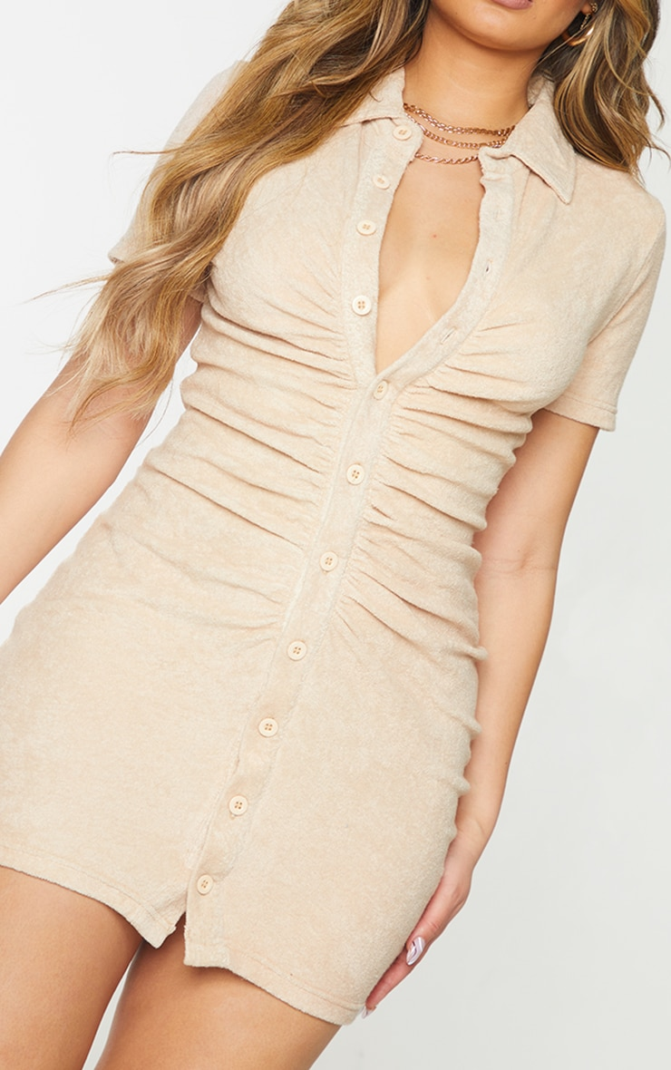 Stone Ruched Button Down Collar Detail Towelling Bodycon Dress 4