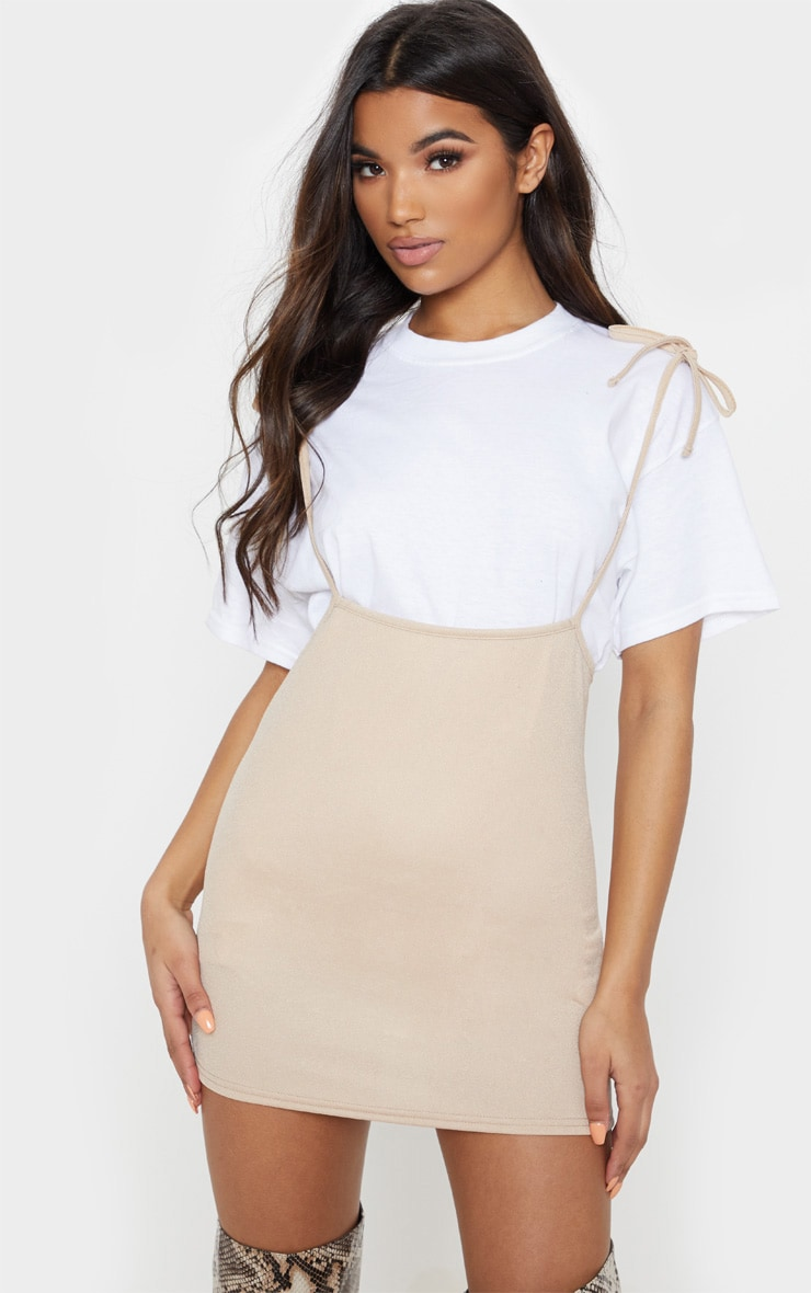 Stone Tie Shoulder Jersey Pinafore Dress 1