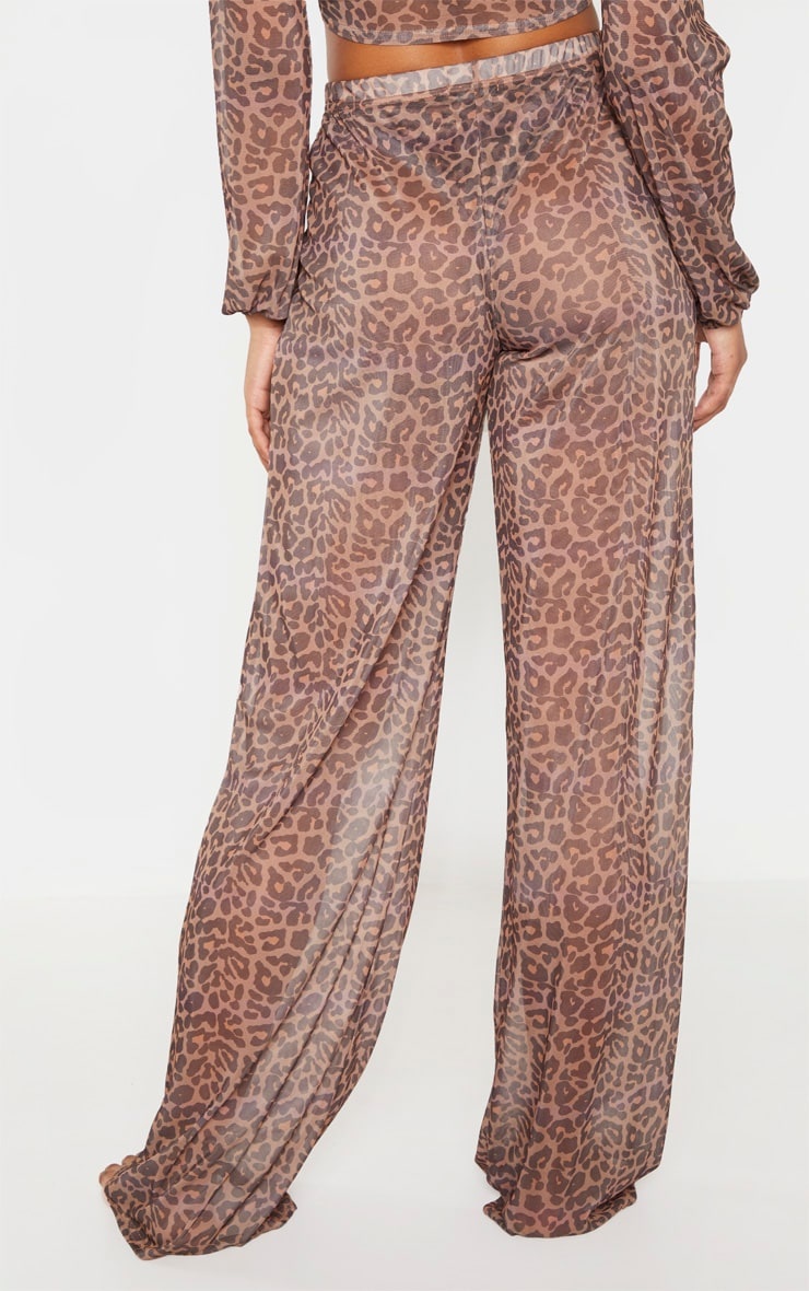 Tall Brown Leopard Print Sheer Trousers 4