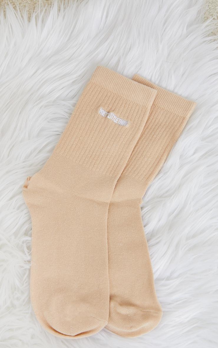 PRETTYLITTLETHING Vanilla Ribbed Socks 3