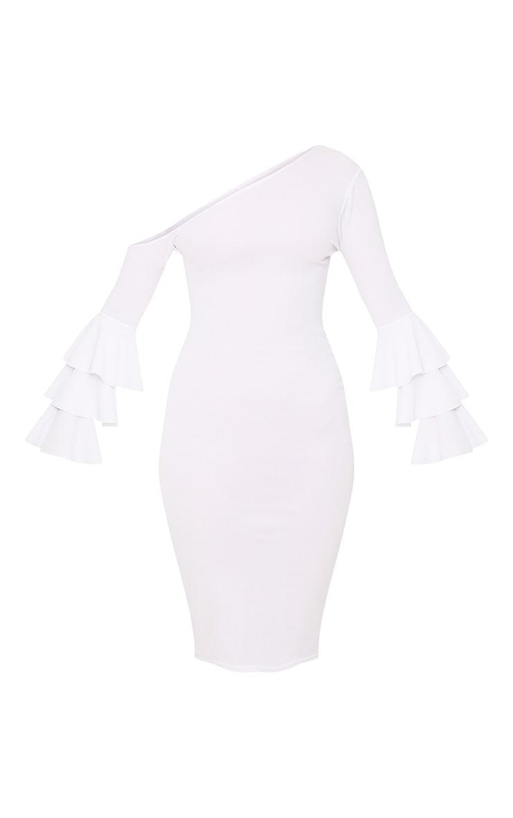 White Frill Sleeve Asymmetric Midi Dress 3