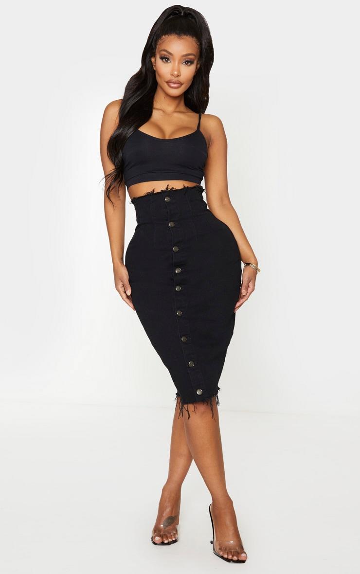 Shape Black Button Front Seam Detail Denim Midi Skirt 1