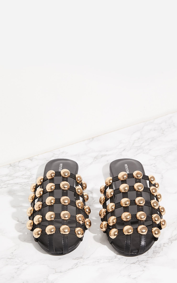 Black Dome Studded Mule Flat