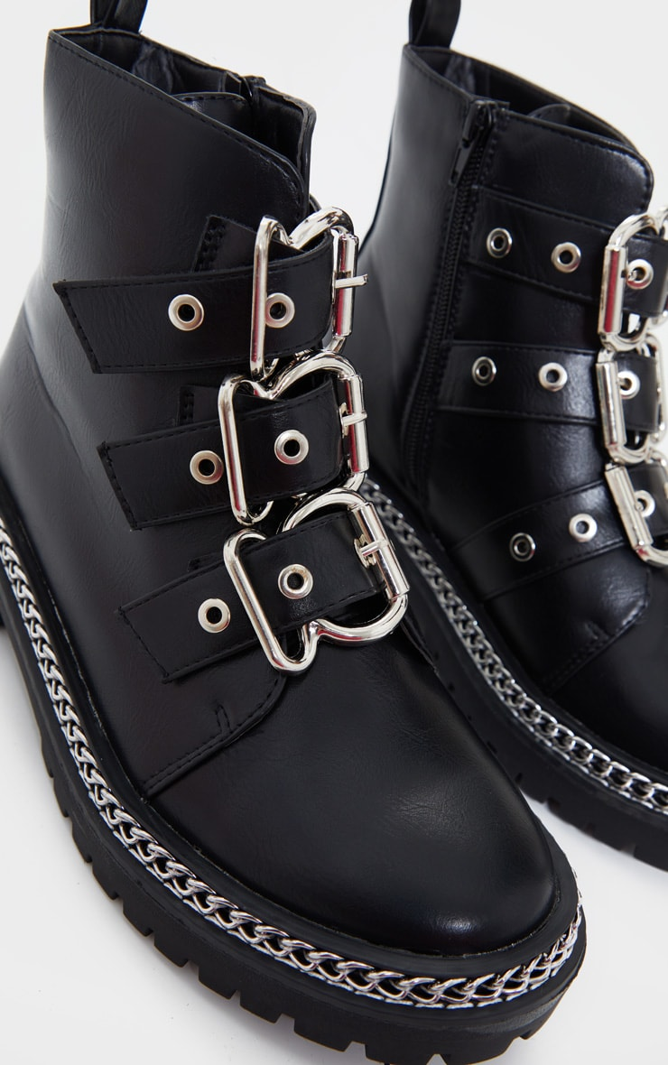 Black Wide Fit Triple Buckle Ankle Boots 3