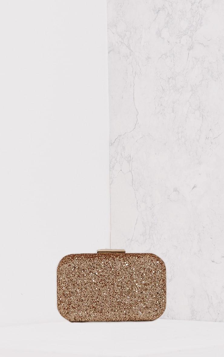 Vicky Gold Glitter Box Clutch Bag 3