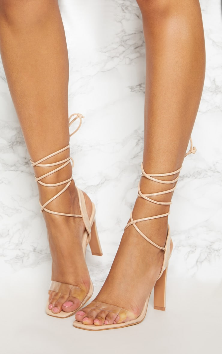 Nude Patent Perspex Square Toe Ghillie Sandal 2