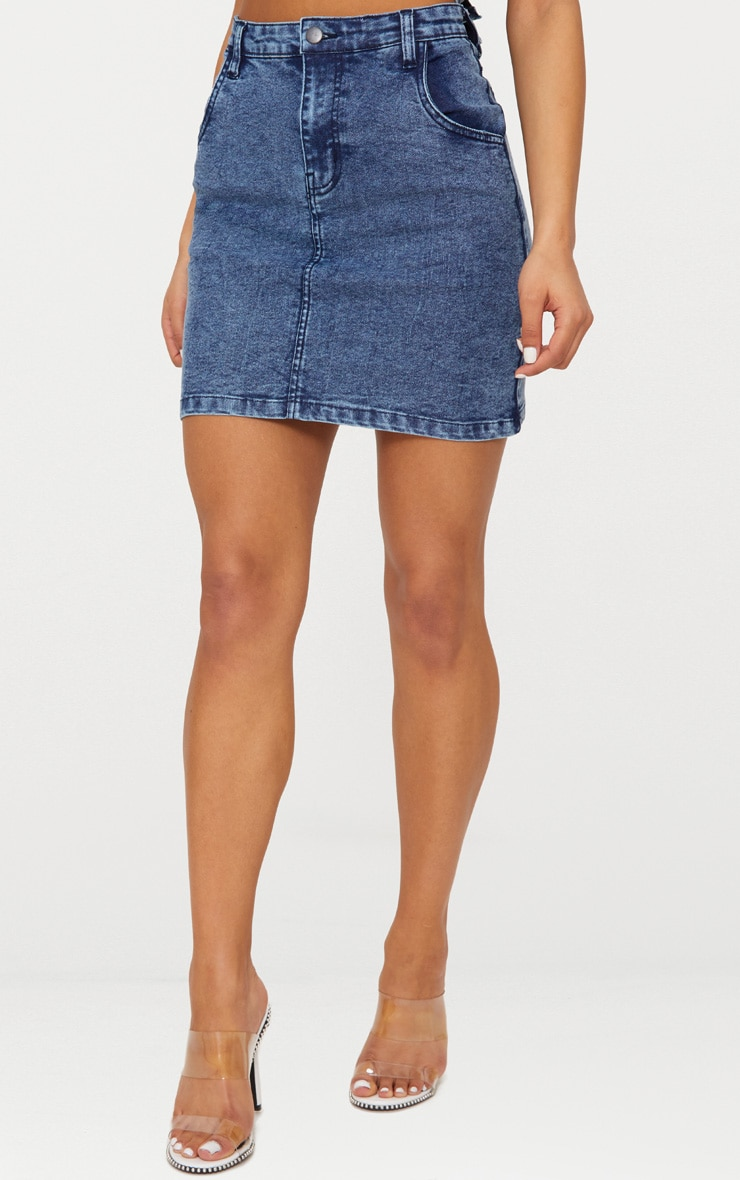 Blue Acid Wash Denim Mini Skirt 2
