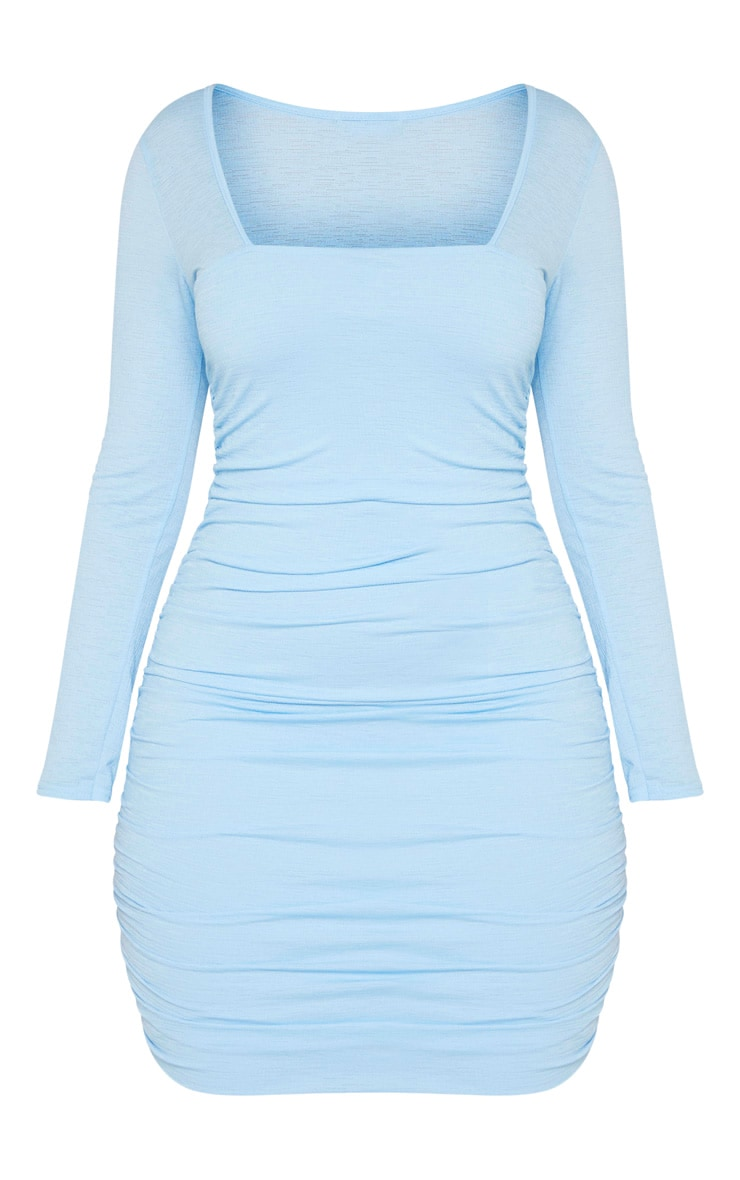Shape Dusty Blue Ruched Square Neck Bodycon Dress 3