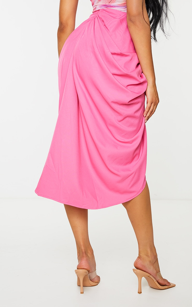 Hot Pink Ruched Side Midi Skirt 3