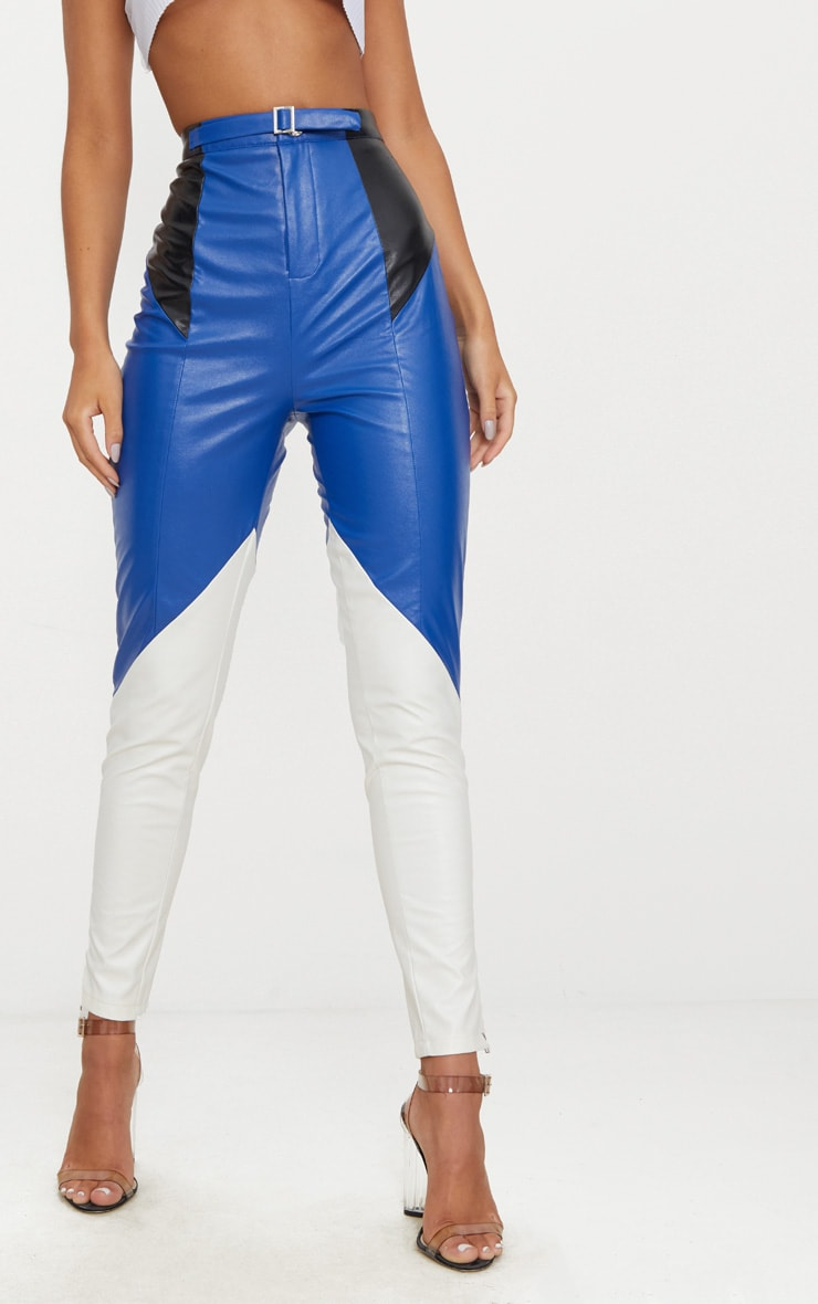 Blue Faux Leather Belted Motocross Pants 2