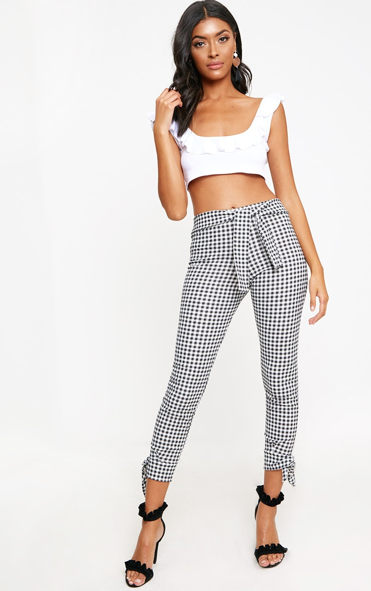 Black Gingham Tie Detail Fitted Trousers 1