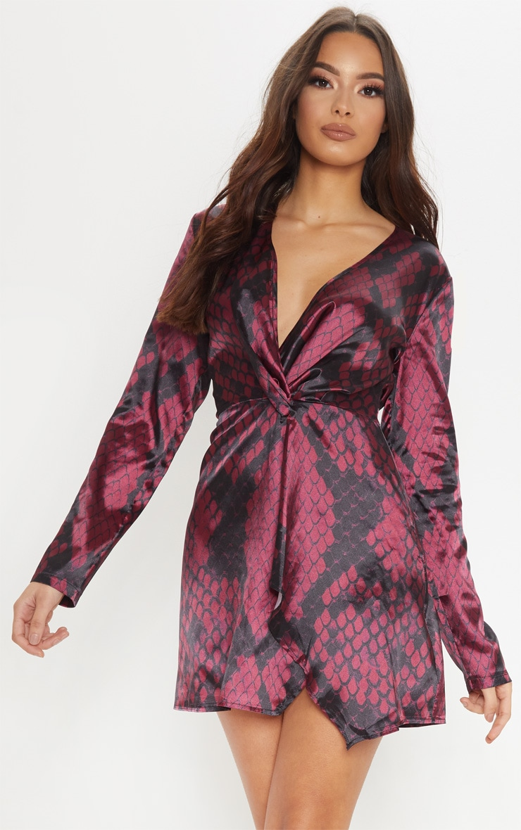 Red Satin Snake Print Long Sleeve Wrap Dress 1