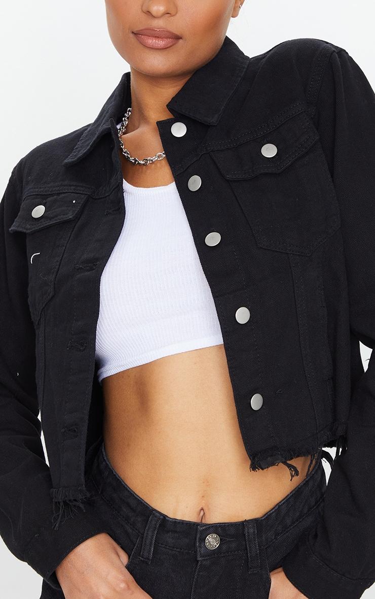 Black Basic Raw Hem Cropped Denim Jacket 4