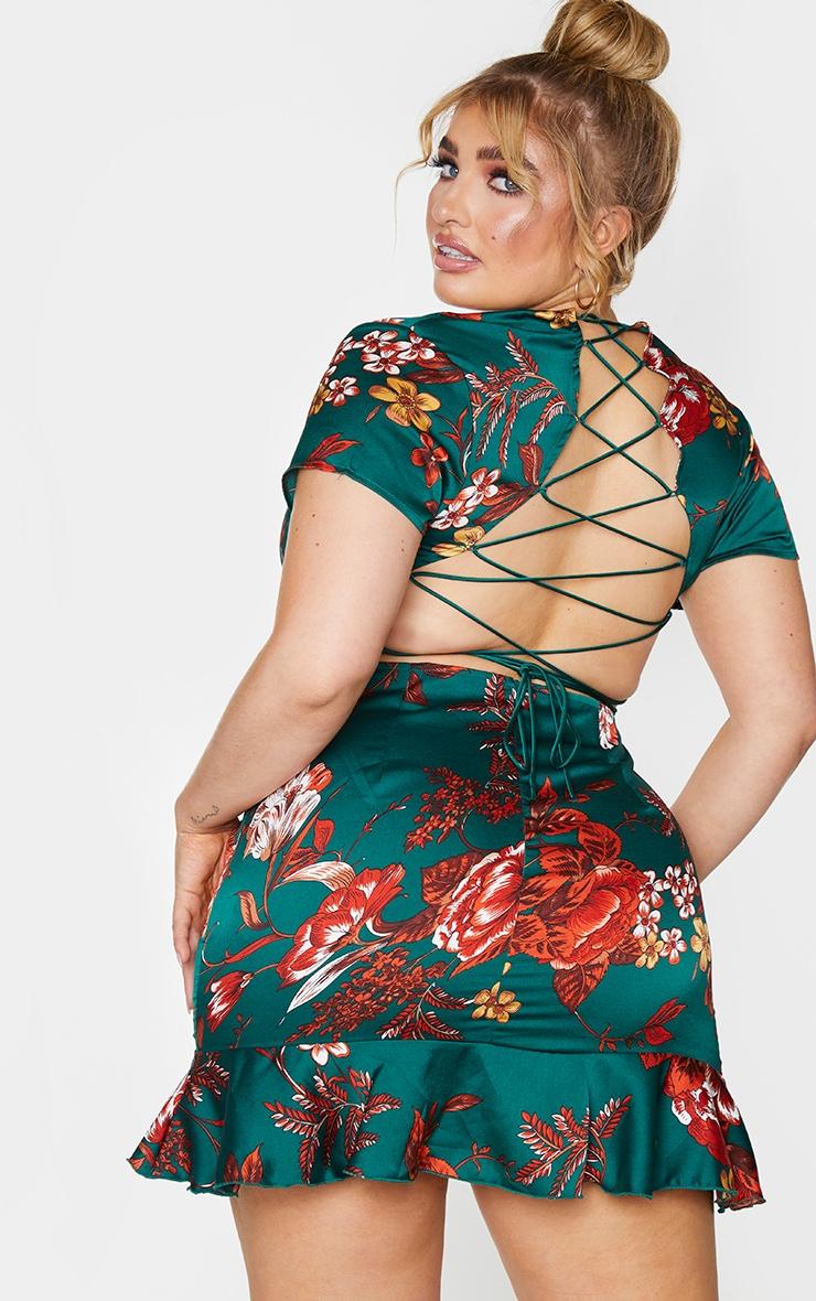 Plus Emerald Green Criss Cross Back Frill Hem Bodycon Dress 1