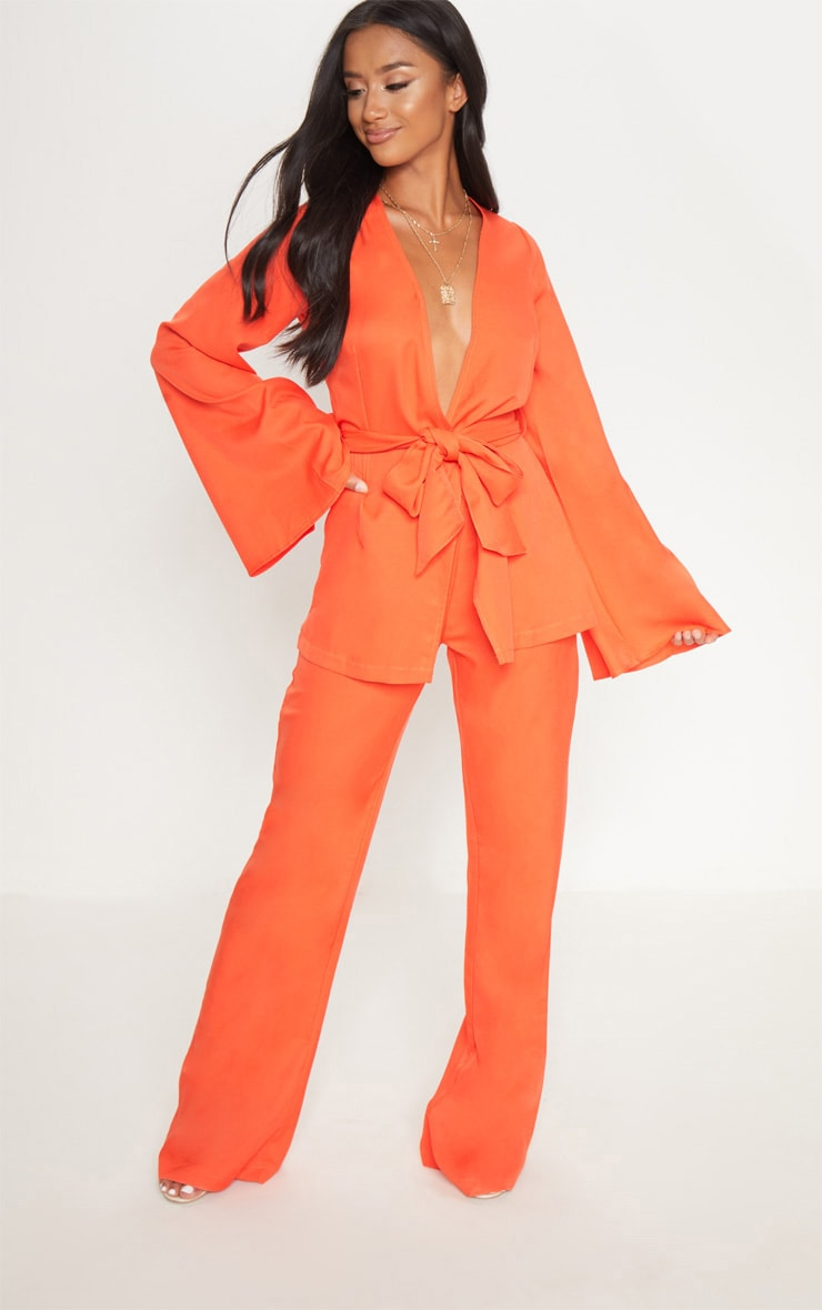 Petite Orange Wide Leg Suit Trousers 1