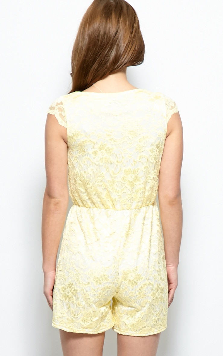 Leila Lemon Lace Playsuit 2