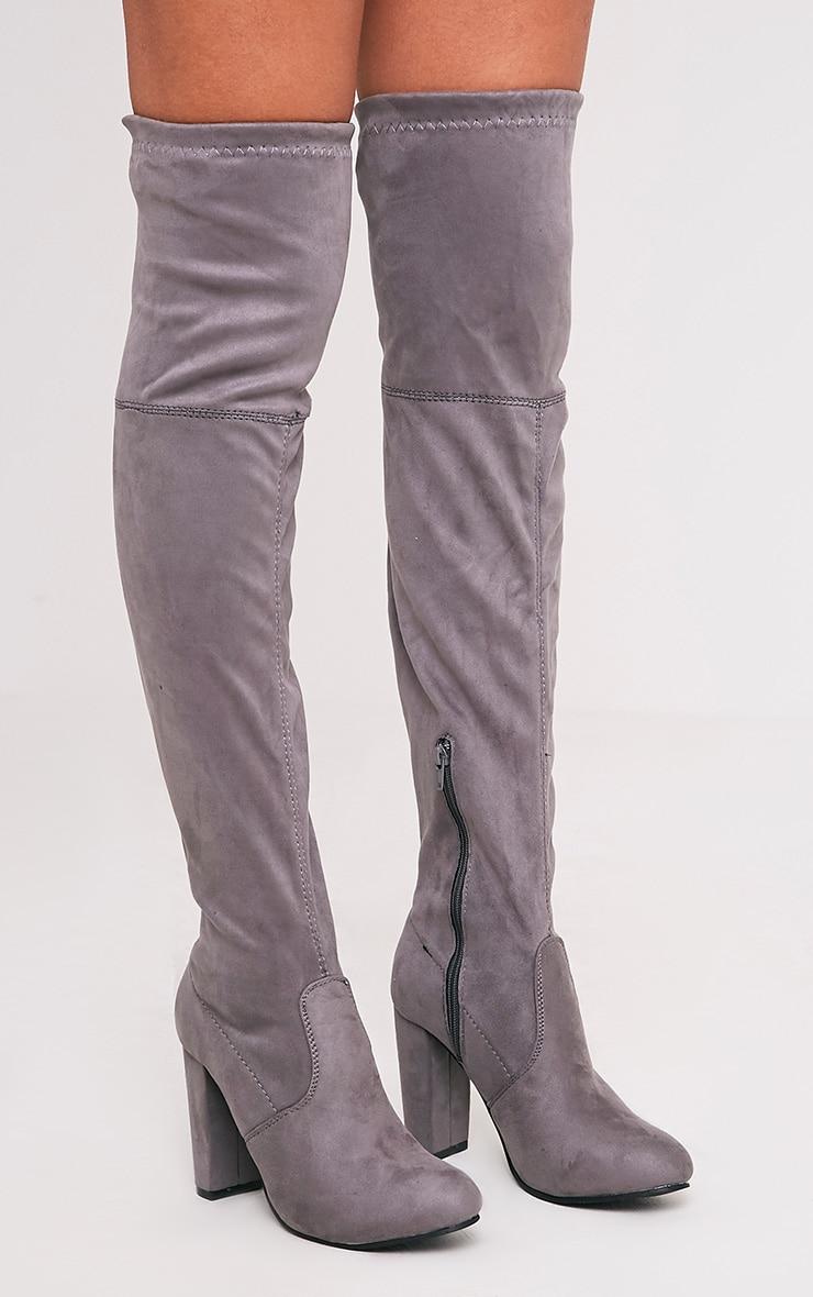 Bess Grey Faux Suede Heel Thigh Boots 3