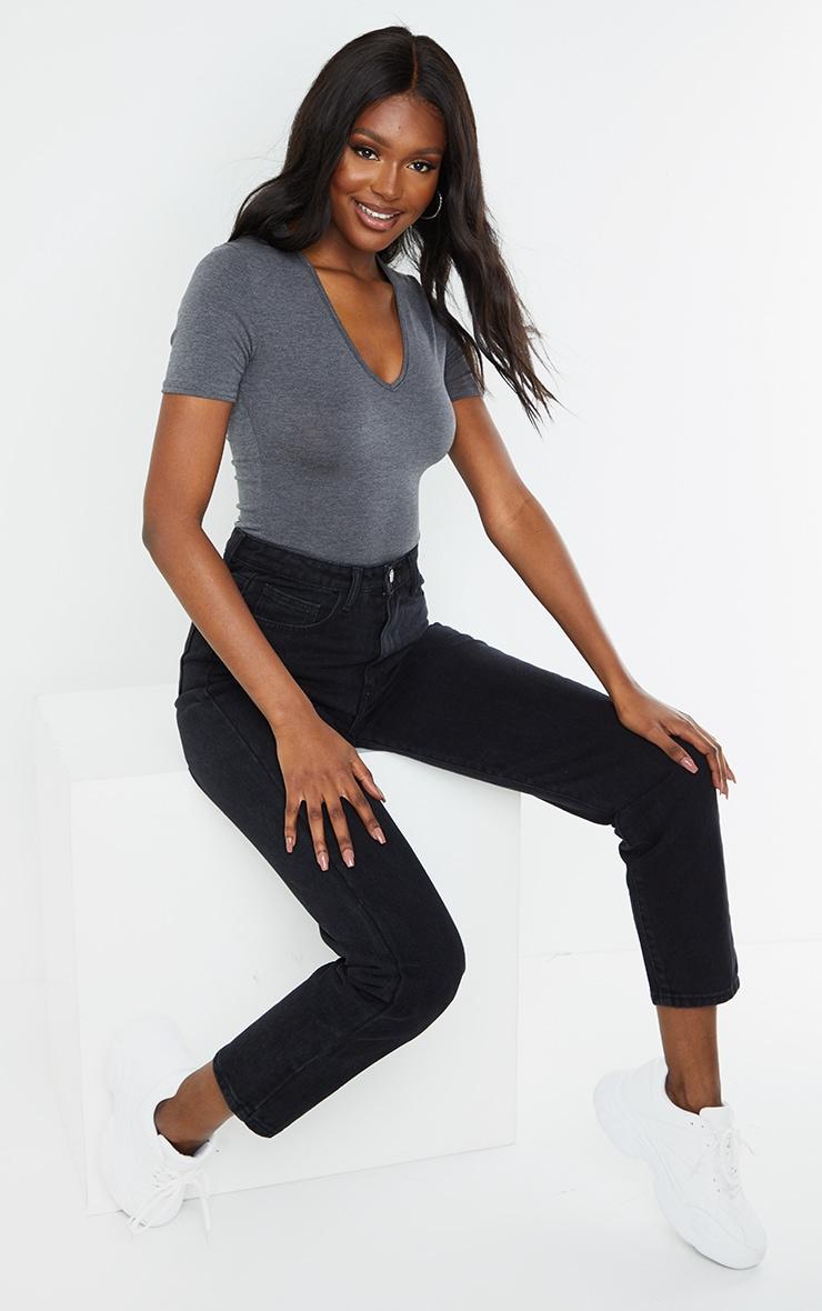 Tall Charcoal V Neck Short Sleeve Thong Bodysuit 3
