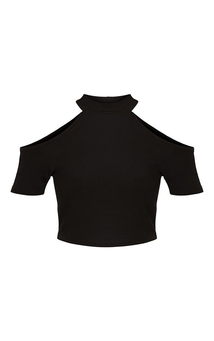 Amabell Black Short Sleeve Cold Shoulder Crop Top 3