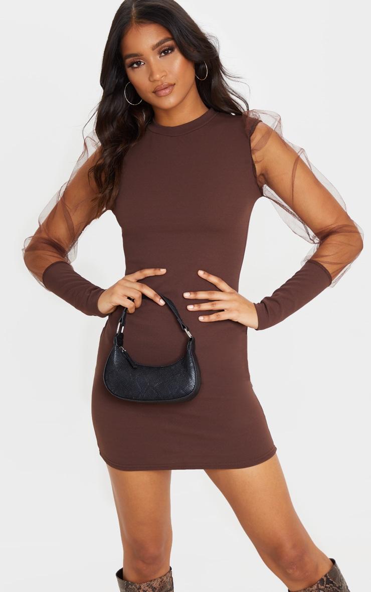 Chocolate Organza Puff Sleeve High Neck Bodycon Dress 1