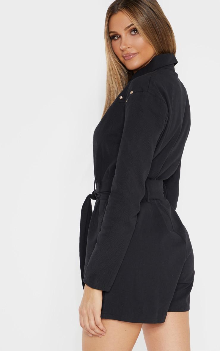 Tall  Black Studded Denim Long Sleeve Romper 2