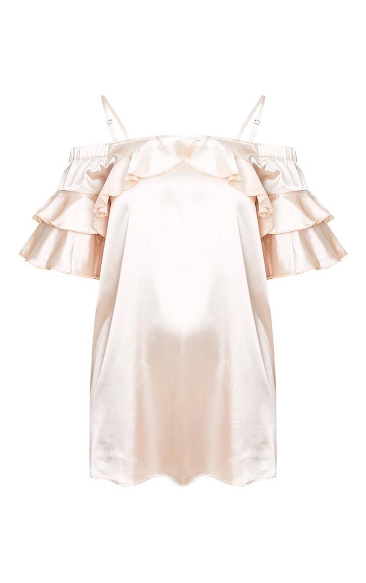 Katy Champagne Satin Cold Shoulder Shift Dress  3