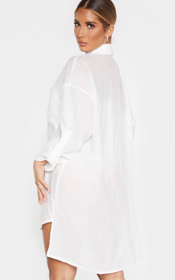 Ecru Oversized Beach Shirt Dress 2