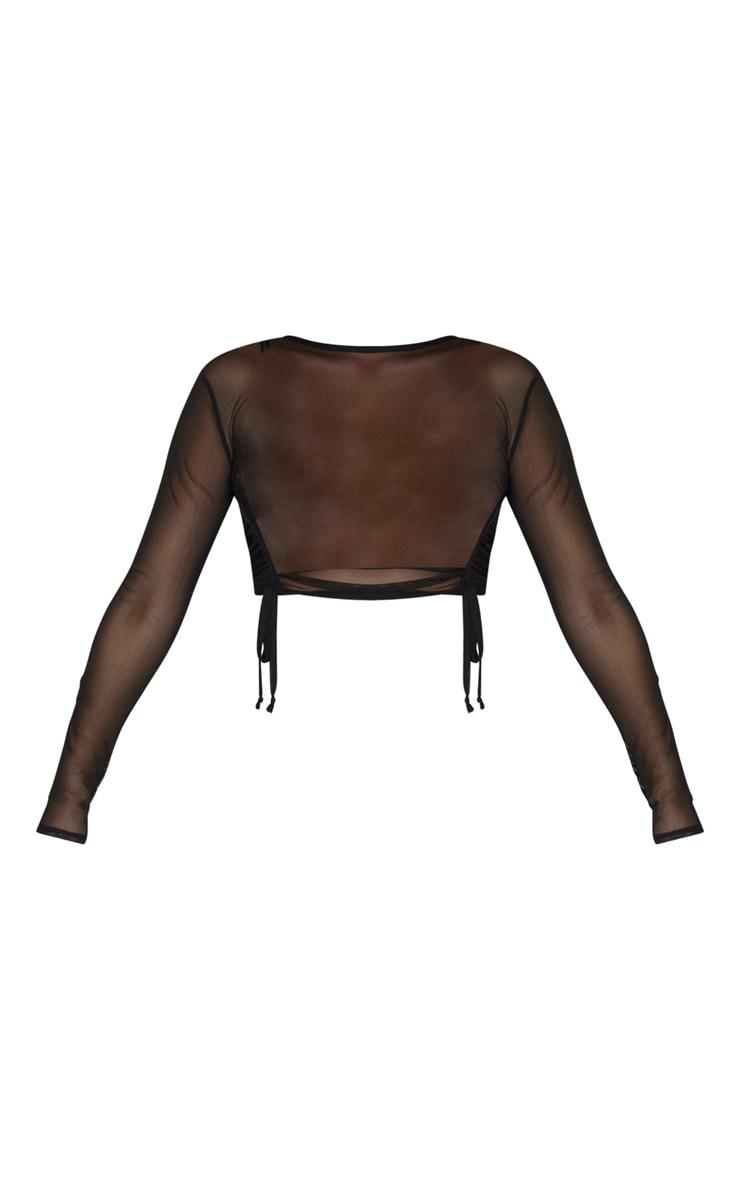 Black Sheer Ruched Tie Long Sleeve Crop Top 3
