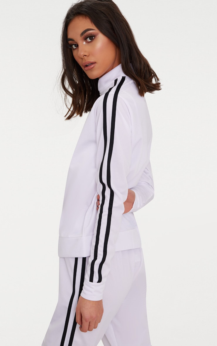 White Sport Stripe Tracksuit Top  2
