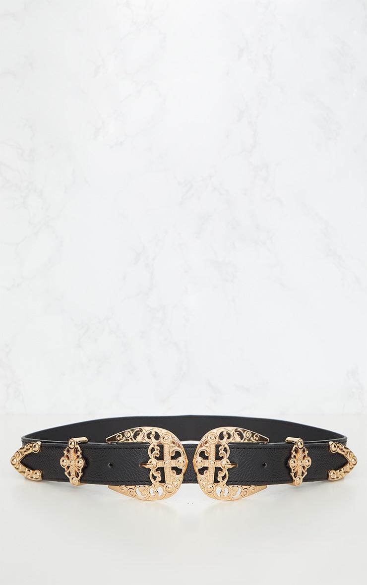 Gold Ornate Buckle Thin Western Belt 4