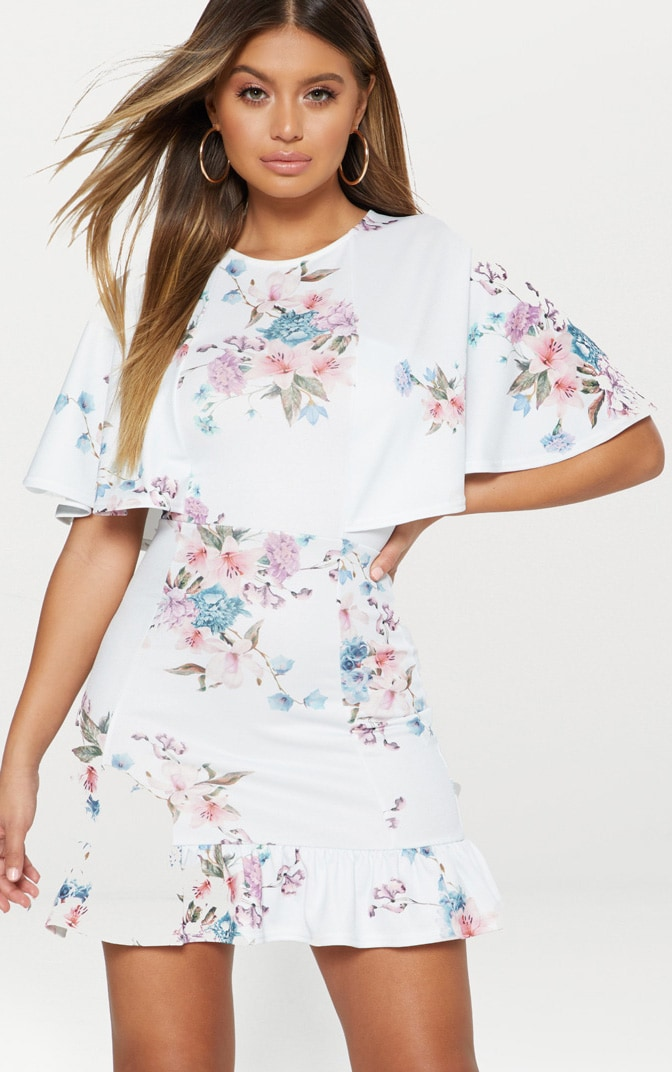 Dusty Blue Floral Cape Detail Frill Hem Bodycon Dress