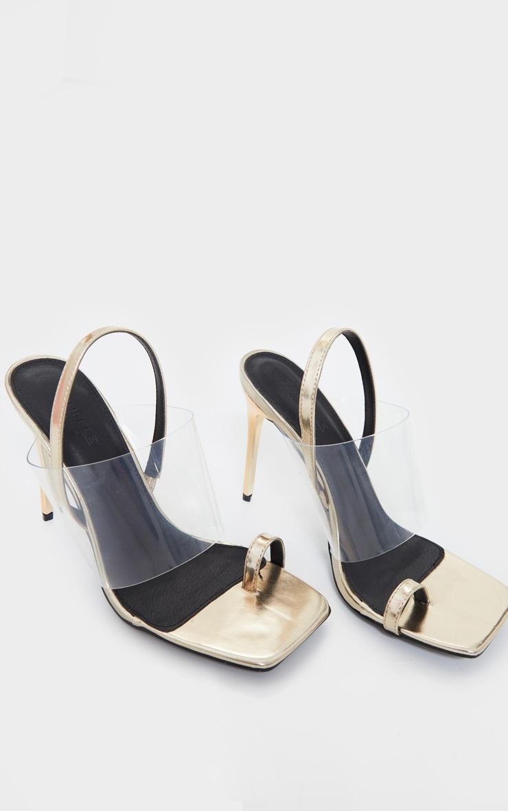 Gold Clear Strap Toe Loop Sling Back High Heel Sandals 3