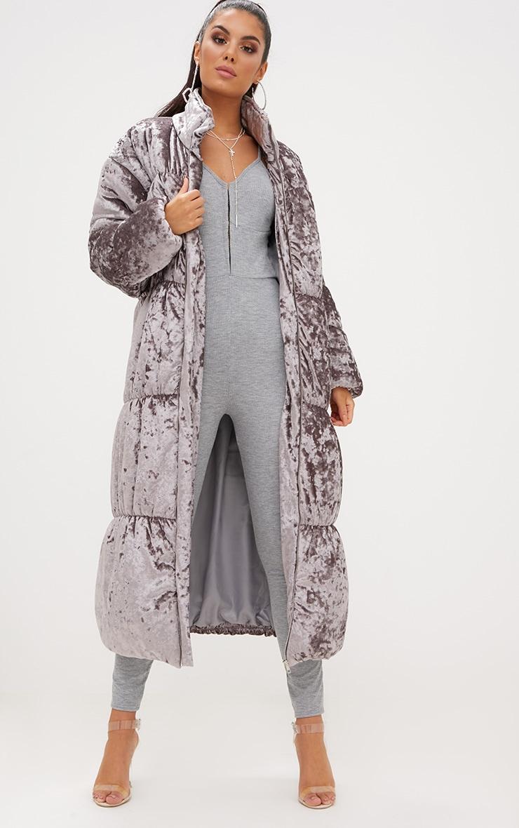 Grey Velvet Longline Puffer Coat 2