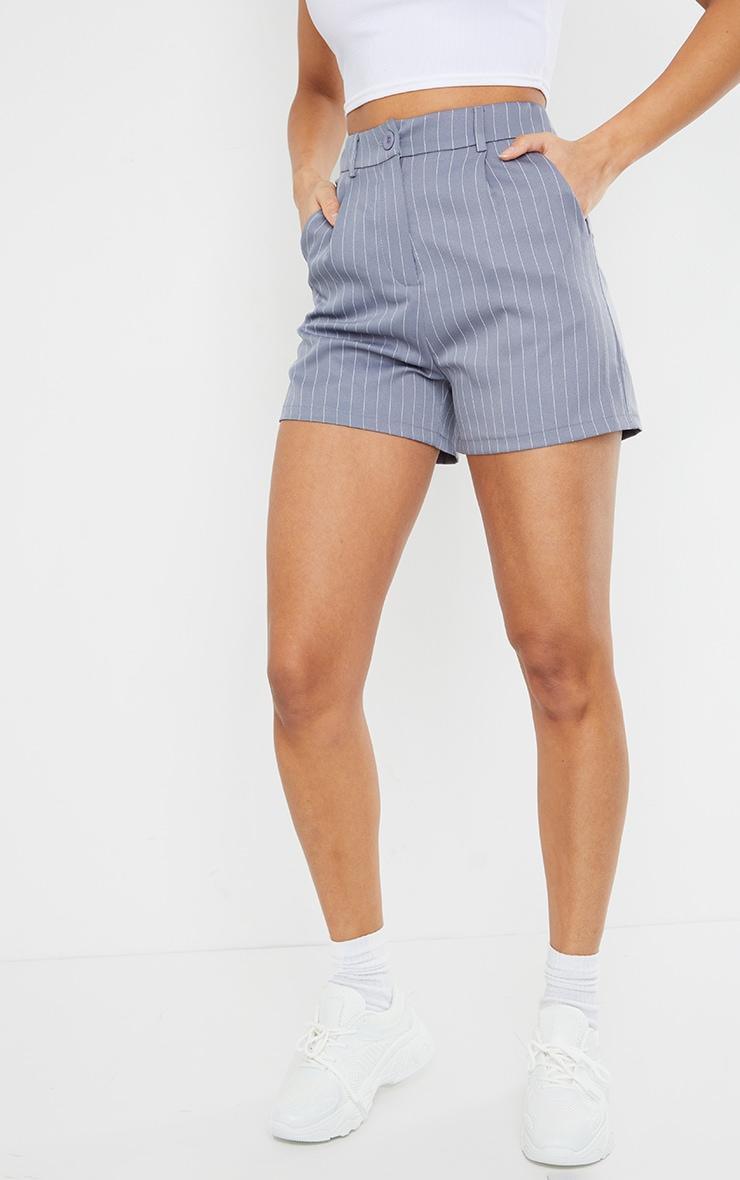 Grey Pinstripe Tailored Shorts 2