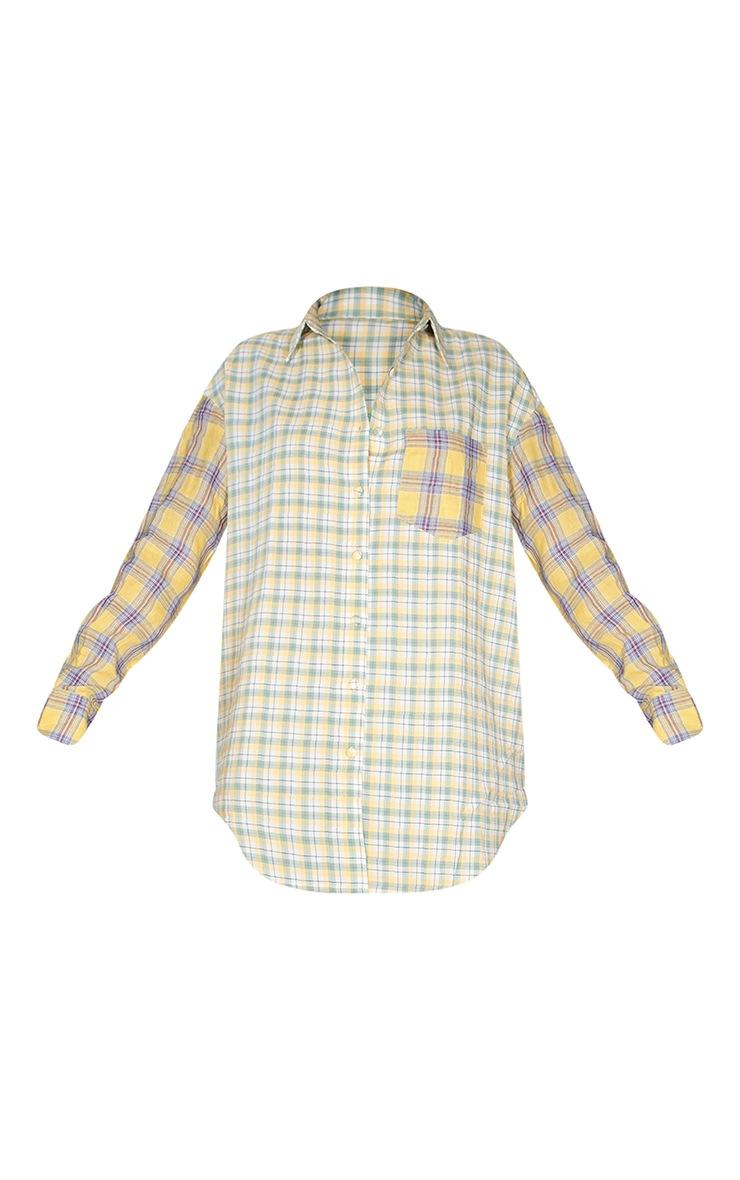 Yellow Contrast Check Shirt Dress 5