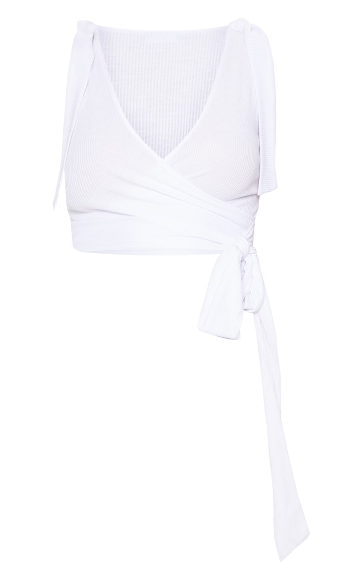 White Rib Tie Strap Wrap Top 3
